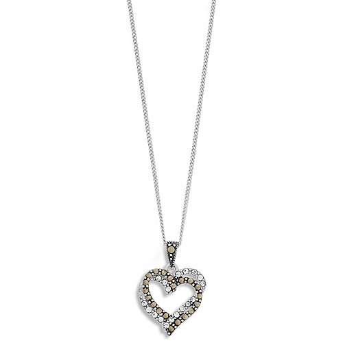 Tori Hill Sterling Silver Marcasite & Crystal Double Heart Pendant Necklace