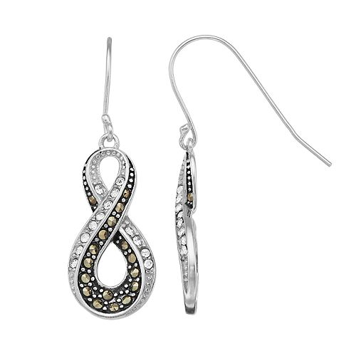 Tori Hill Sterling Silver Marcasite & Crystal Infinity Drop Earrings