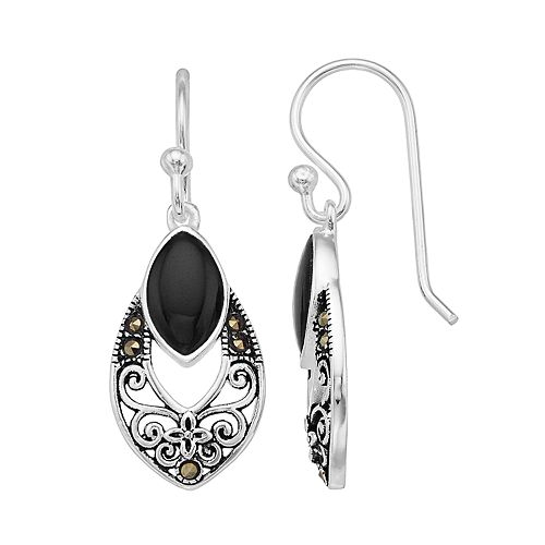 Tori Hill Sterling Silver Marcasite & Onyx Openwork Drop Earrings