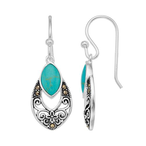 c12ee995f Tori Hill Sterling Silver Marcasite & Simulated Turquoise Drop Earrings