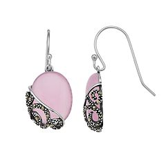 Tori Hill Sterling Silver Marcasite & Pink Glass Drop Earrings