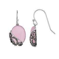 Tori Hill Sterling Silver Marcasite & Pink Glass Drop Earrings