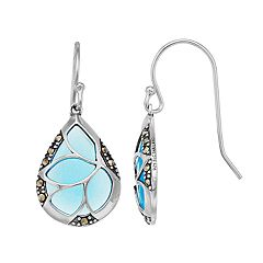 Tori Hill Sterling Silver Marcasite & Blue Glass Teardrop Earrings