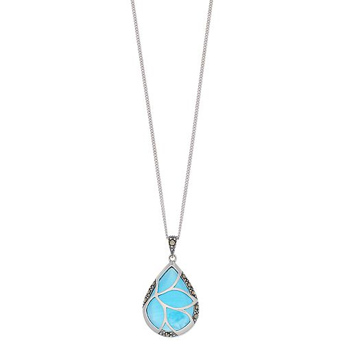 Tori Hill Sterling Silver Blue Glass & Marcasite Teardrop Pendant