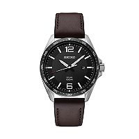 Seiko Men's Leather Solar Watch - SNE487