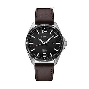 Seiko Men's Leather Solar Watch - SNE487