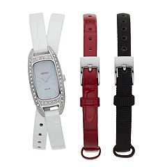 Seiko Women's Crystal Accent Solar Watch & Interchangeable Leather Band Set - SUP391