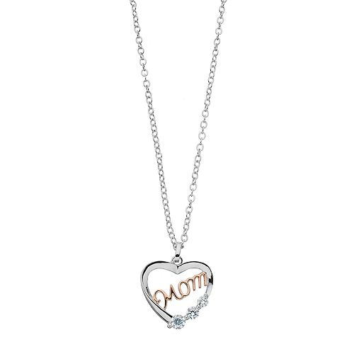 Brilliance Mom Heart Pendant Necklace with Swarovski Zirconia