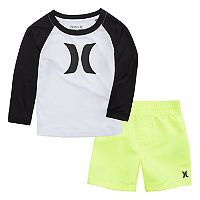 Baby Boy Hurley Raglan Logo Rash Guard & Swim Trunks Set