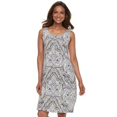 Women's Croft & Barrow® Print Henley Tank Dress