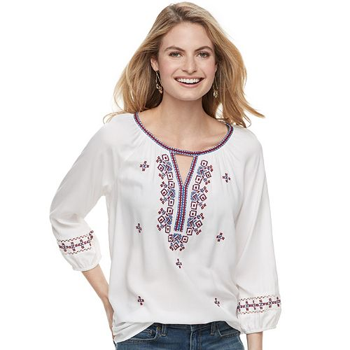 Women's SONOMA Goods for Life™ Embroidered Challis Top