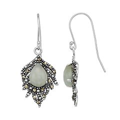 Tori Hill Sterling Silver Jade & Marcasite Feather Drop Earrings