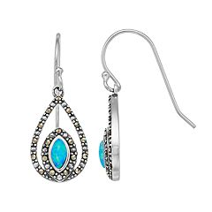 Tori Hill Sterling Silver Marcasite & Simulated Blue Opal Teardrop Earrings