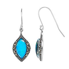 Tori Hill Sterling Silver Marcasite & Simulated Blue Opal Marquise Drop Earrings