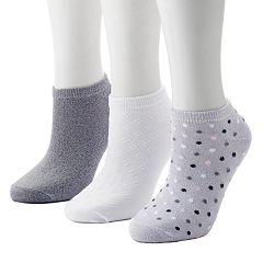 Women's Cuddl Duds 3-Pack Polka Dot Low-Cut Socks