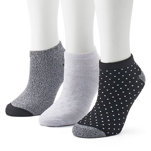 Women's Cuddl Duds 3-Pack Pin Dot Low-Cut Socks