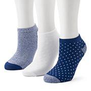 Women's Cuddl Duds 3-Pack Pin Dot Low-Cut Socks