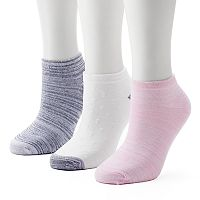 Women's Cuddl Duds 3-Pack Space-Dyed Low-Cut Socks