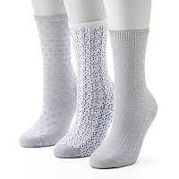 Women's Cuddl Duds 3-Pack Birdseye & Cable Crew Socks