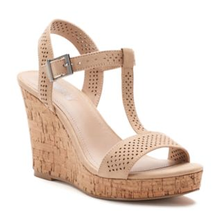 Style Charles by Charles David Link Women's T-Strap Wedge Sandals