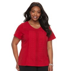 Plus Size Croft & Barrow® Eyelet Tee