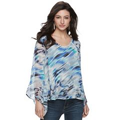 Women's Jennifer Lopez Bell Sleeve Chiffon Top