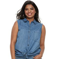 Juniors' Plus SO® Sleeveless Tie-Front Chambray Shirt