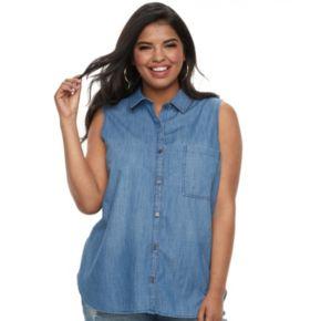 Juniors' Plus SO® Sleeveless Tie-Front Chambray Shirt