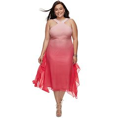 Plus Size Jennifer Lopez Crossover-Neck Chiffon Dress