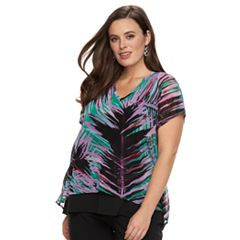 Plus Size Dana Buchman Mixed Media Top
