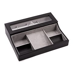 Bey-Berk Monogrammed Leather Valet Box