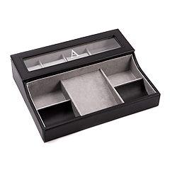 Bey-Berk Monogrammed Leather Valet Box