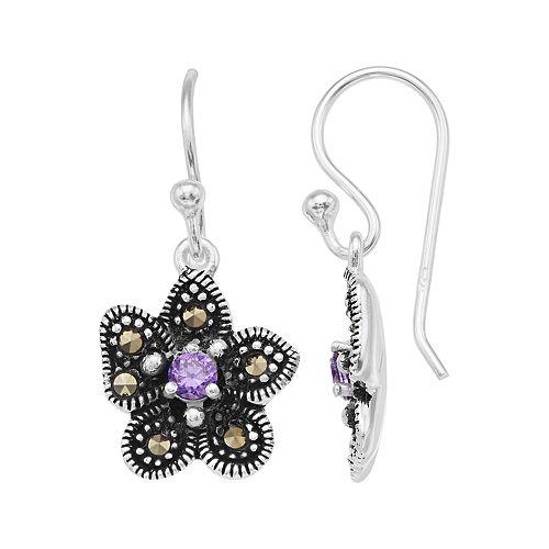 Tori Hill Sterling Silver Marcasite & Purple Glass Flower Drop Earrings