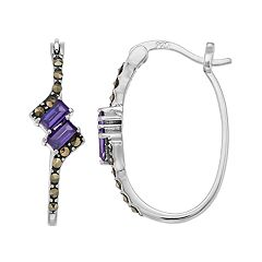 Tori Hill Sterling Silver Marcasite & Purple Glass Hoop Earrings