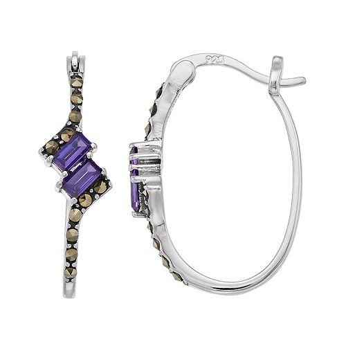 Tori Hill Sterling Silver Marcasite & Purple Glass Hoop Earrings