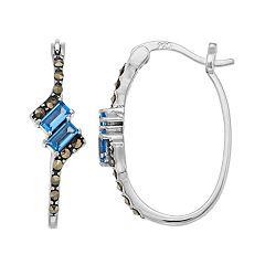 Tori Hill Sterling Silver Marcasite & Blue Glass Hoop Earrings
