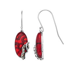Tori Hill Sterling Silver Marcasite & Red Glass Oval Drop Earrings