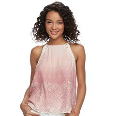 Juniors' Mudd® Art Deco Shirred Tank