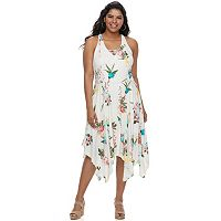 Juniors' Plus Size Candie's® Floral Handkerchief Hem Dress