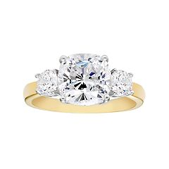 14k Gold Over Silver Lab-Created White Sapphire 3-Stone Engagement Ring