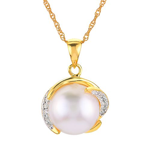 14k Gold Over Silver Freshwater Cultured Pearl Pendant Necklace