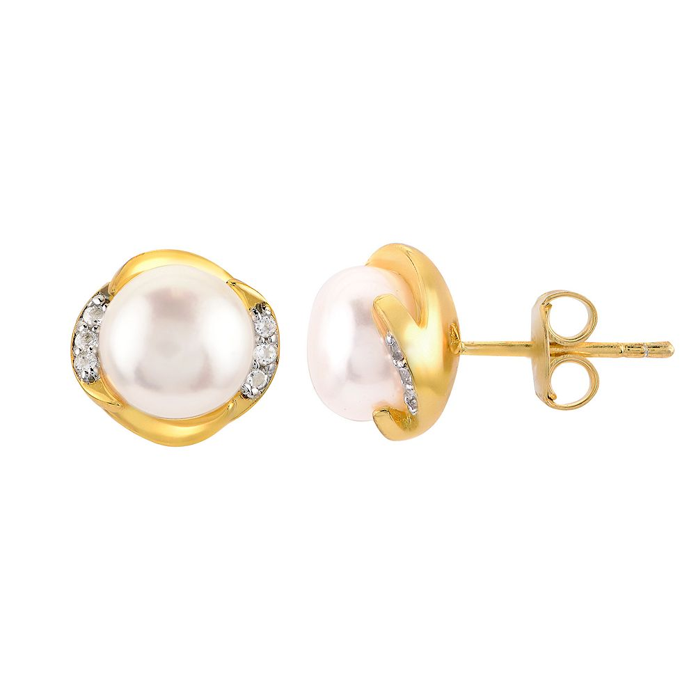 14K Gold Over Silver Freshwater Cultured Pearl & White Topaz Earrings