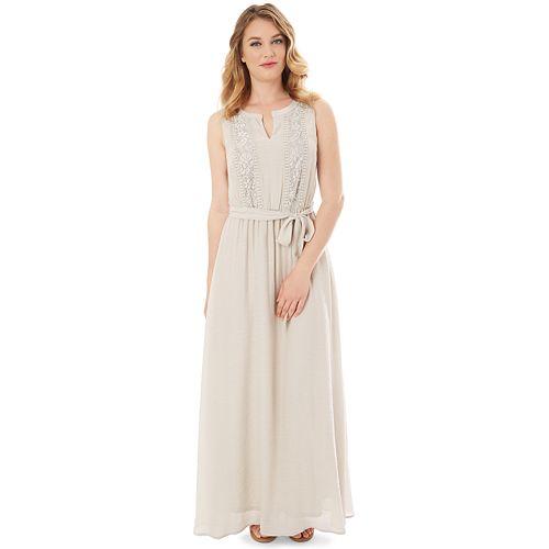 Petite Apt. 9® Gauze Crochet Maxi Dress