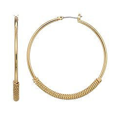 Napier Textured Hoop Earrings