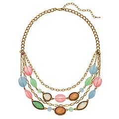 Napier Colorful Bead Multi Strand Statement Necklace