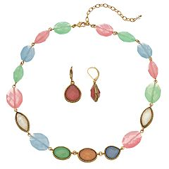Napier Colorful Collar Necklace & Drop Earring Set