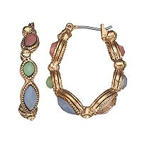 Napier Colorful Inlay Oval Hoop Earrings