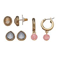 Napier Colorful Stud & Hoop Earring Set