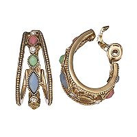 Napier Colorful Inlay Clip-On Hoop Earrings