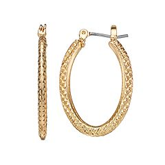 Napier Textured Gold Tone Oval Hoop Earrings